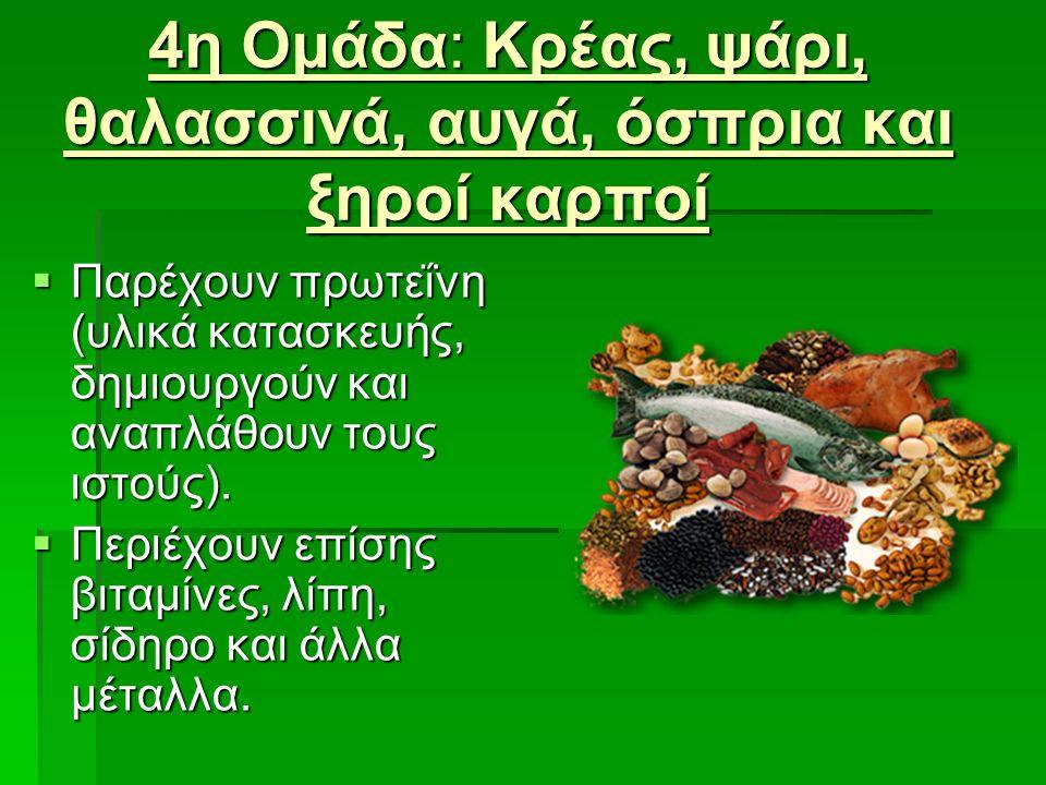 4η Ομάδα: Κρέας, ψάρι, θαλασσινά, αυγά, όσπρια και ξηροί καρποί  Παρέχουν πρωτεΐνη (υλικά κατασκευής, δημιουργούν και αναπλάθουν τους ιστούς).  Περι