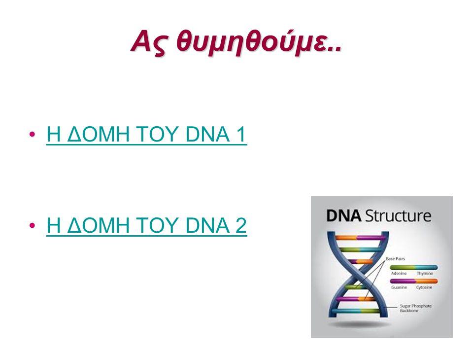 Ας θυμηθούμε.. Η ΔΟΜΗ ΤΟΥ DNA 1Η ΔΟΜΗ ΤΟΥ DNA 1 Η ΔΟΜΗ ΤΟΥ DNA 2Η ΔΟΜΗ ΤΟΥ DNA 2