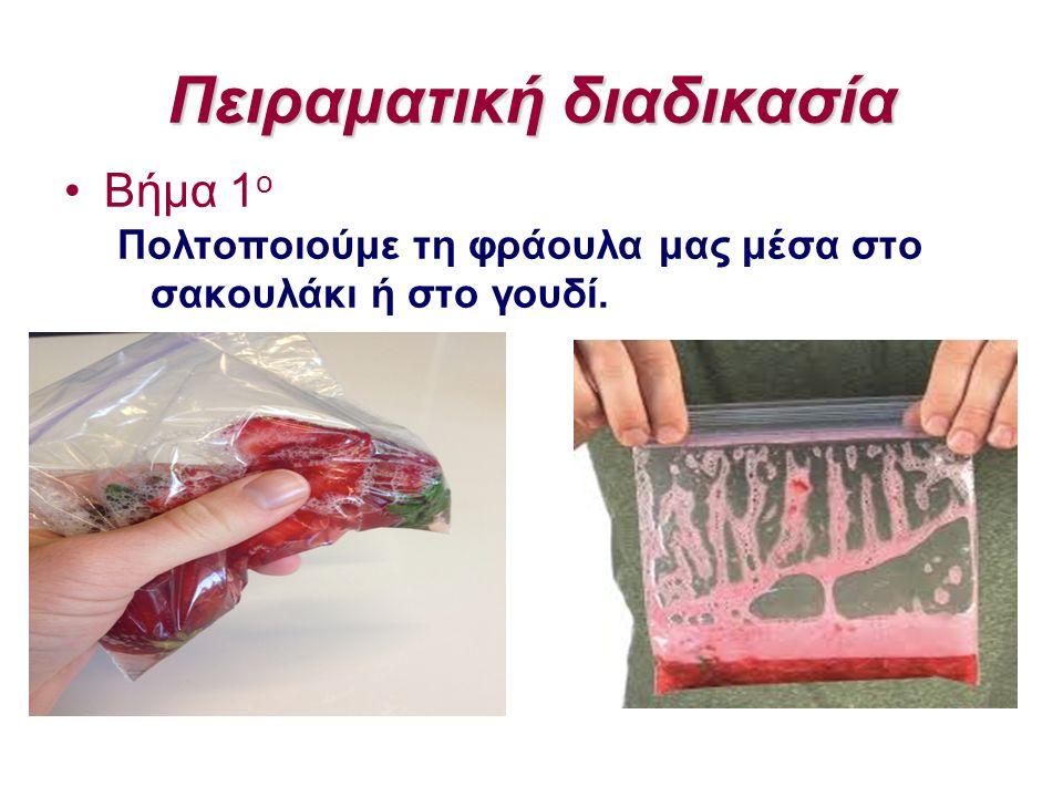 Πειραματική διαδικασία Βήμα 1 ο Πολτοποιούμε τη φράουλα μας μέσα στο σακουλάκι ή στο γουδί.