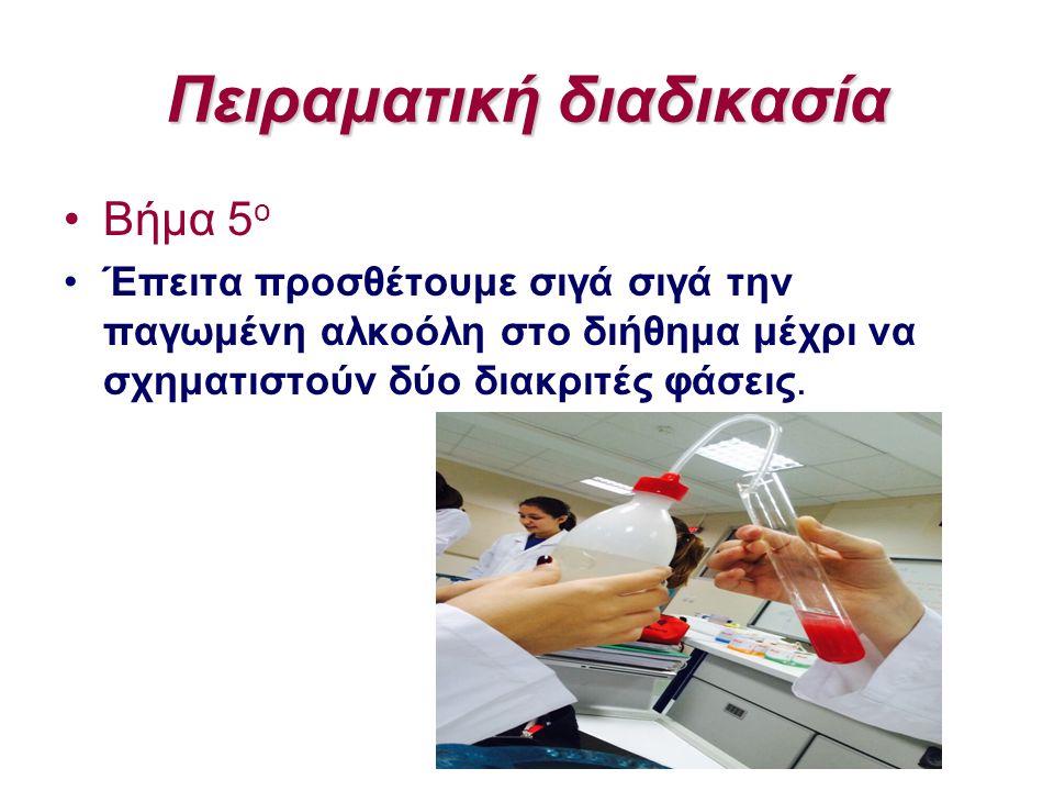 Πειραματική διαδικασία Βήμα 5 ο Έπειτα προσθέτουμε σιγά σιγά την παγωμένη αλκοόλη στο διήθημα μέχρι να σχηματιστούν δύο διακριτές φάσεις.