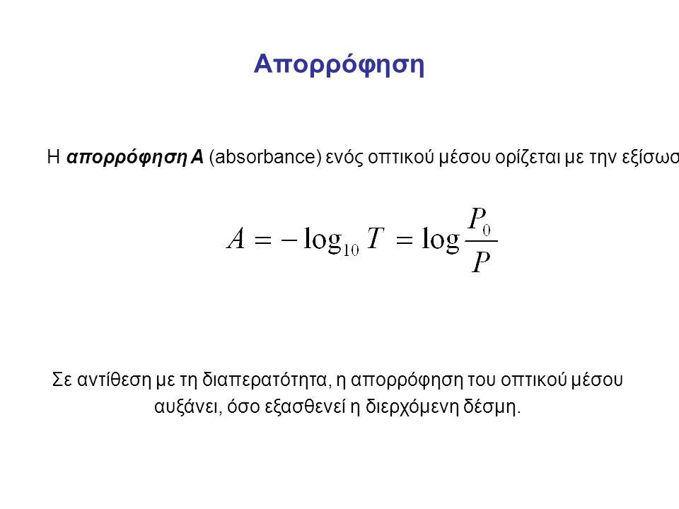 Απορρόφηση Η απορρόφηση Α (absorbance) ενός οπτικού μέσου ορίζεται με την εξίσωση Σε αντίθεση με τη διαπερατότητα, η απορρόφηση του οπτικού μέσου αυξάνει, όσο εξασθενεί η διερχόμενη δέσμη.