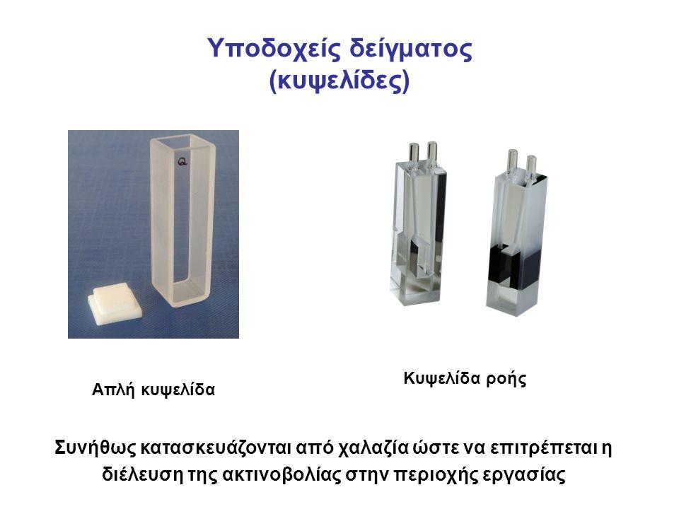 Υποδοχείς δείγματος (κυψελίδες) Απλή κυψελίδα Κυψελίδα ροής Συνήθως κατασκευάζονται από χαλαζία ώστε να επιτρέπεται η διέλευση της ακτινοβολίας στην περιοχής εργασίας