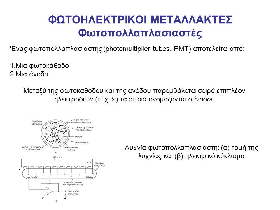 ΦΩΤΟΗΛΕΚΤΡΙΚΟΙ ΜΕΤΑΛΛΑΚΤΕΣ Φωτοπολλαπλασιαστές 'Ενας φωτοπολλαπλασιαστής (photomultiplier tubes, PMT) αποτελείται από: 1.Μια φωτοκάθοδο 2.Μια άνοδο Μεταξύ της φωτοκαθόδου και της ανόδου παρεμβάλεται σειρά επιπλέον ηλεκτροδίων (π.χ.