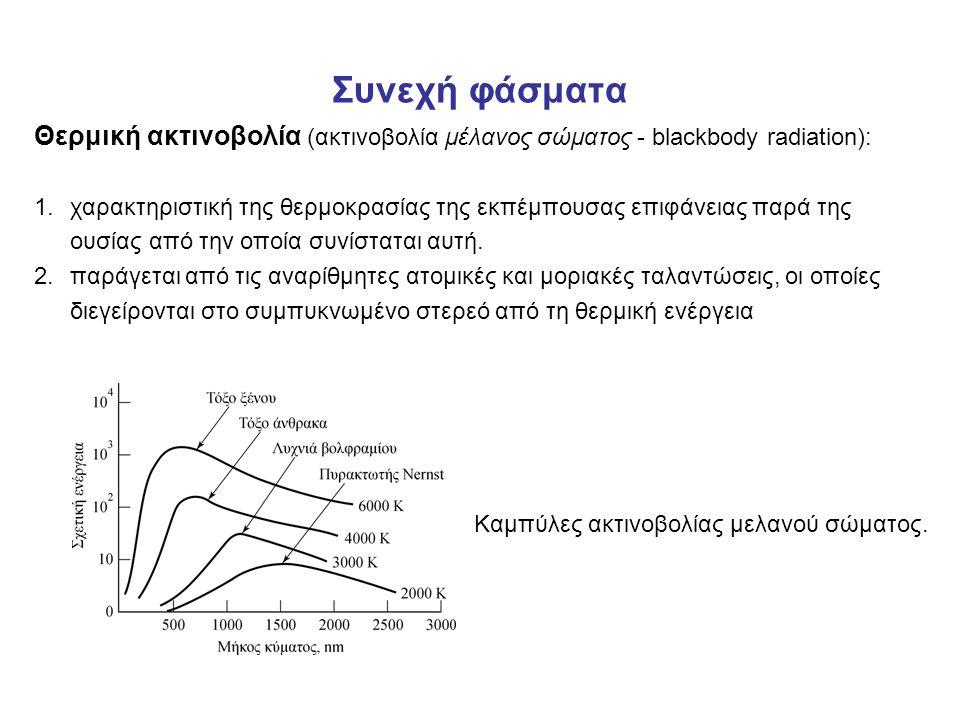 Συνεχή φάσματα Θερμική ακτινοβολία (ακτινοβολία μέλανος σώματος - blackbody radiation): 1.χαρακτηριστική της θερμοκρασίας της εκπέμπουσας επιφάνειας παρά της ουσίας από την οποία συνίσταται αυτή.