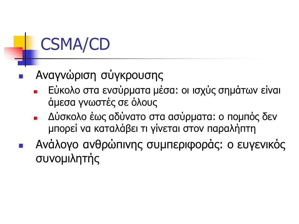 CSMA/CD Αναγνώριση σύγκρουσης Εύκολο στα ενσύρματα μέσα: οι ισχύς σημάτων είναι άμεσα γνωστές σε όλους Δύσκολο έως αδύνατο στα ασύρματα: ο πομπός δεν μπορεί να καταλάβει τι γίνεται στον παραλήπτη Ανάλογο ανθρώπινης συμπεριφοράς: ο ευγενικός συνομιλητής