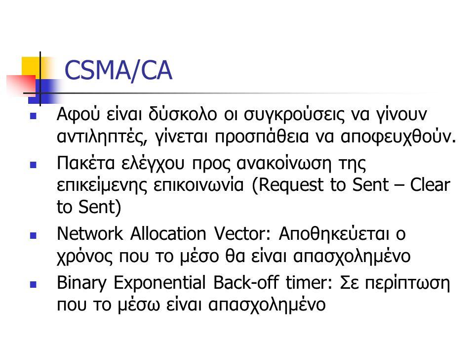 CSMA/CA Αφού είναι δύσκολο οι συγκρούσεις να γίνουν αντιληπτές, γίνεται προσπάθεια να αποφευχθούν.