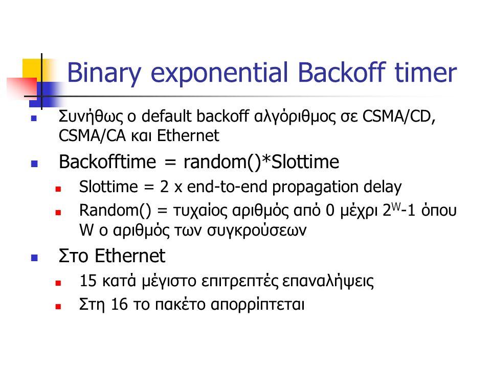 Binary exponential Backoff timer Συνήθως ο default backoff αλγόριθμος σε CSMA/CD, CSMA/CA και Ethernet Backofftime = random()*Slottime Slottime = 2 x end-to-end propagation delay Random() = τυχαίος αριθμός από 0 μέχρι 2 W -1 όπου W ο αριθμός των συγκρούσεων Στο Ethernet 15 κατά μέγιστο επιτρεπτές επαναλήψεις Στη 16 το πακέτο απορρίπτεται