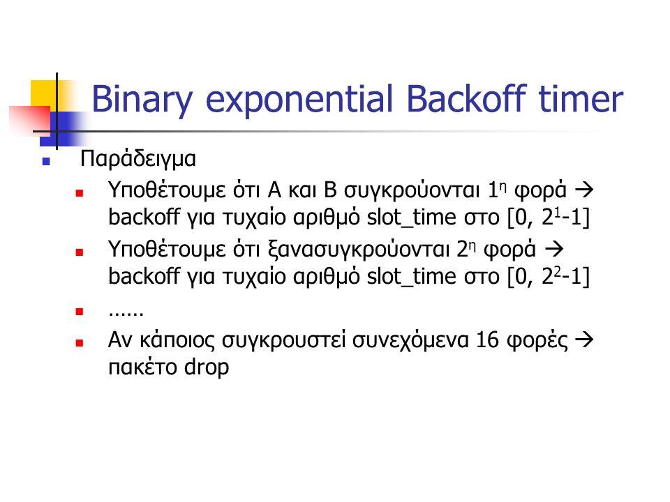 Binary exponential Backoff timer Παράδειγμα Υποθέτουμε ότι Α και Β συγκρούονται 1 η φορά  backoff για τυχαίο αριθμό slot_time στο [0, 2 1 -1] Υποθέτουμε ότι ξανασυγκρούονται 2 η φορά  backoff για τυχαίο αριθμό slot_time στο [0, 2 2 -1] …… Αν κάποιος συγκρουστεί συνεχόμενα 16 φορές  πακέτο drop
