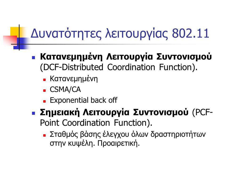 Δυνατότητες λειτουργίας 802.11 Κατανεμημένη Λειτουργία Συντονισμού (DCF-Distributed Coordination Function).