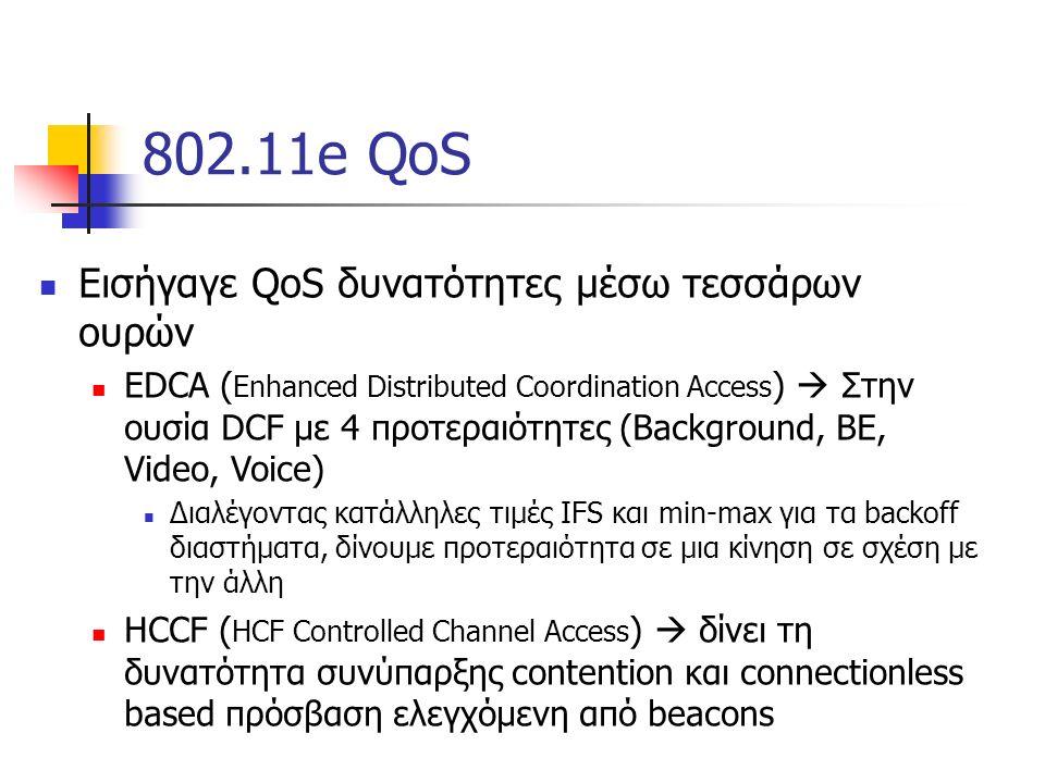802.11e QoS Εισήγαγε QoS δυνατότητες μέσω τεσσάρων ουρών EDCA ( Enhanced Distributed Coordination Access )  Στην ουσία DCF με 4 προτεραιότητες (Background, BE, Video, Voice) Διαλέγοντας κατάλληλες τιμές IFS και min-max για τα backoff διαστήματα, δίνουμε προτεραιότητα σε μια κίνηση σε σχέση με την άλλη HCCF ( HCF Controlled Channel Access )  δίνει τη δυνατότητα συνύπαρξης contention και connectionless based πρόσβαση ελεγχόμενη από beacons