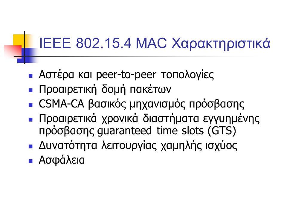 ΙΕΕΕ 802.15.4 MAC Χαρακτηριστικά Αστέρα και peer-to-peer τοπολογίες Προαιρετική δομή πακέτων CSMA-CA βασικός μηχανισμός πρόσβασης Προαιρετικά χρονικά διαστήματα εγγυημένης πρόσβασης guaranteed time slots (GTS) Δυνατότητα λειτουργίας χαμηλής ισχύος Ασφάλεια