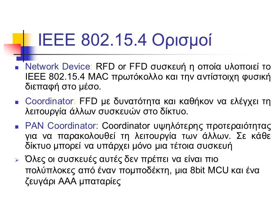 ΙΕEE 802.15.4 Ορισμοί Network Device: RFD or FFD συσκευή η οποία υλοποιεί το IEEE 802.15.4 MAC πρωτόκολλο και την αντίστοιχη φυσική διεπαφή στο μέσο.