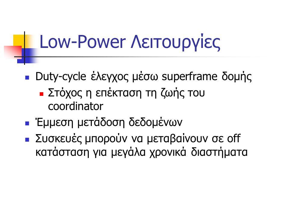 Low-Power Λειτουργίες Duty-cycle έλεγχος μέσω superframe δομής Στόχος η επέκταση τη ζωής του coordinator Έμμεση μετάδοση δεδομένων Συσκευές μπορούν να μεταβαίνουν σε off κατάσταση για μεγάλα χρονικά διαστήματα