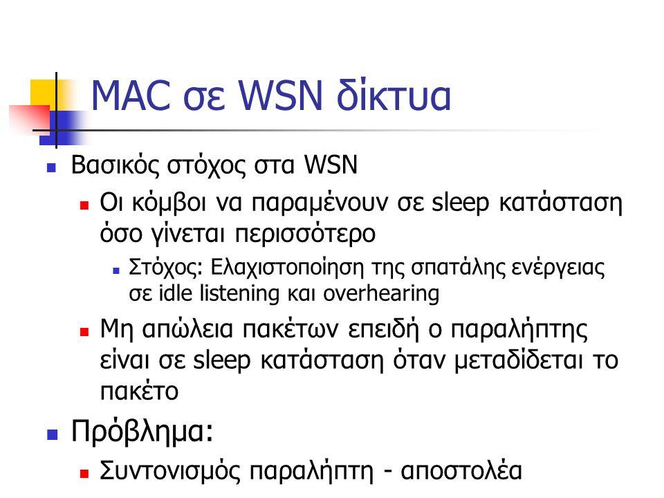 MAC σε WSN δίκτυα Βασικός στόχος στα WSN Οι κόμβοι να παραμένουν σε sleep κατάσταση όσο γίνεται περισσότερο Στόχος: Ελαχιστοποίηση της σπατάλης ενέργειας σε idle listening και overhearing Μη απώλεια πακέτων επειδή ο παραλήπτης είναι σε sleep κατάσταση όταν μεταδίδεται το πακέτο Πρόβλημα: Συντονισμός παραλήπτη - αποστολέα