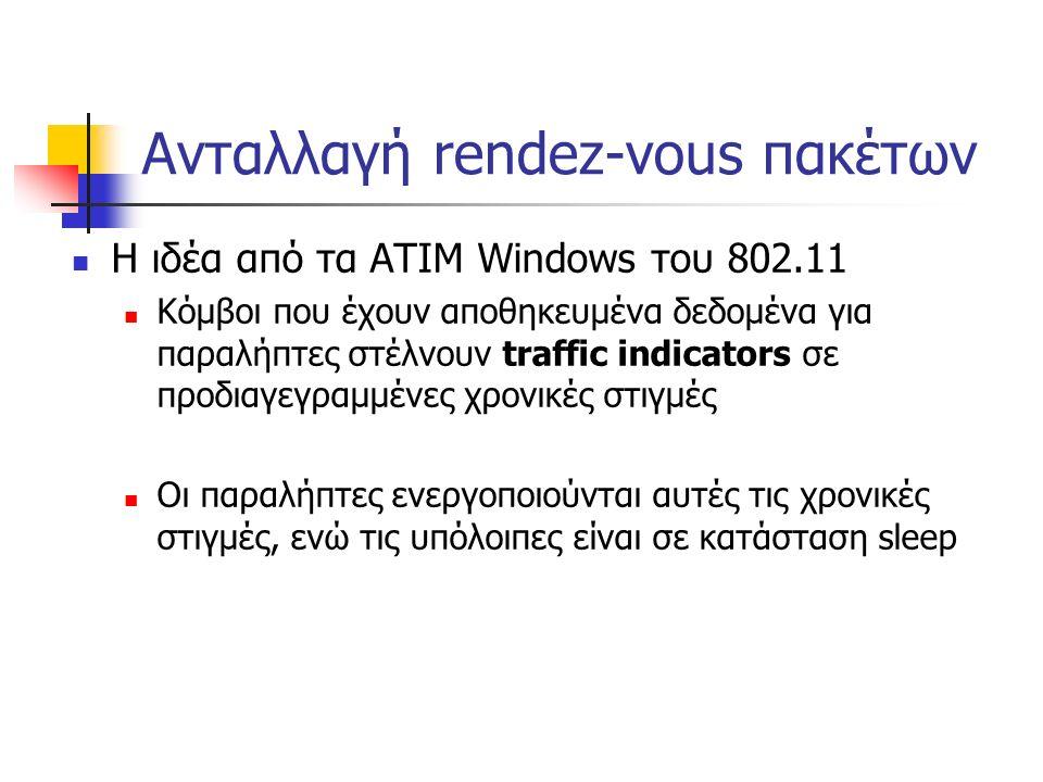 Ανταλλαγή rendez-vous πακέτων Η ιδέα από τα ATIM Windows του 802.11 Κόμβοι που έχουν αποθηκευμένα δεδομένα για παραλήπτες στέλνουν traffic indicators σε προδιαγεγραμμένες χρονικές στιγμές Οι παραλήπτες ενεργοποιούνται αυτές τις χρονικές στιγμές, ενώ τις υπόλοιπες είναι σε κατάσταση sleep