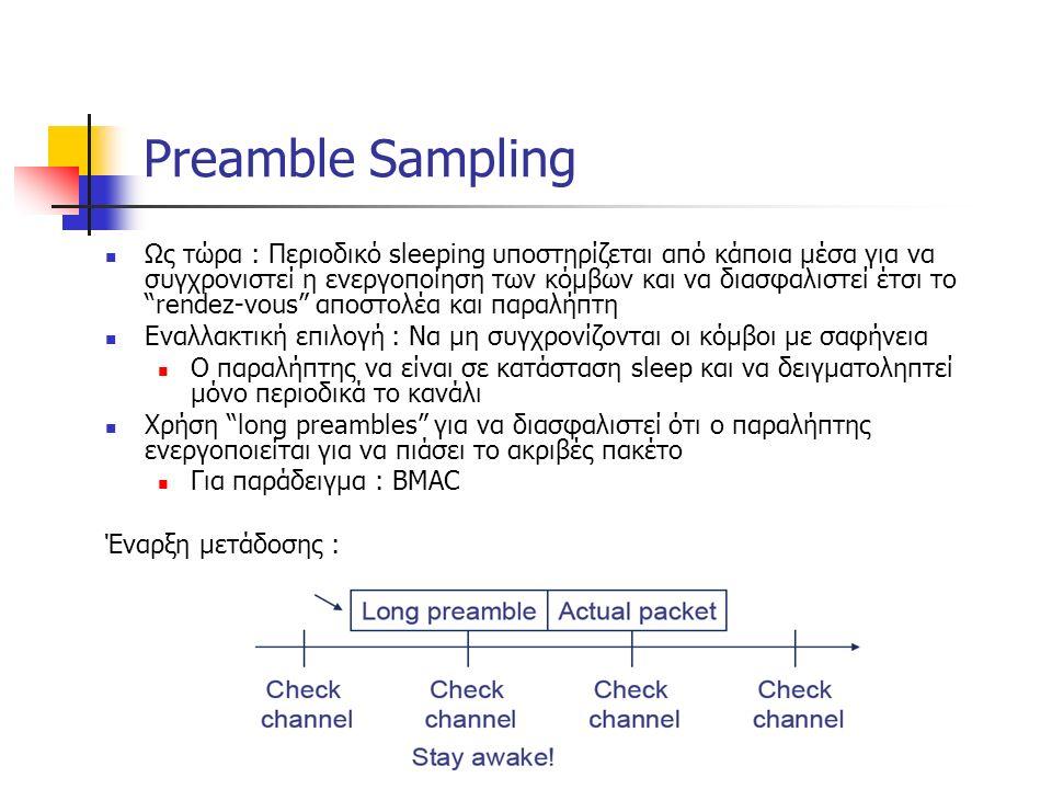 Preamble Sampling Ως τώρα : Περιοδικό sleeping υποστηρίζεται από κάποια μέσα για να συγχρονιστεί η ενεργοποίηση των κόμβων και να διασφαλιστεί έτσι το rendez-vous αποστολέα και παραλήπτη Εναλλακτική επιλογή : Να μη συγχρονίζονται οι κόμβοι με σαφήνεια Ο παραλήπτης να είναι σε κατάσταση sleep και να δειγματοληπτεί μόνο περιοδικά το κανάλι Χρήση long preambles για να διασφαλιστεί ότι ο παραλήπτης ενεργοποιείται για να πιάσει το ακριβές πακέτο Για παράδειγμα : BMAC Έναρξη μετάδοσης :