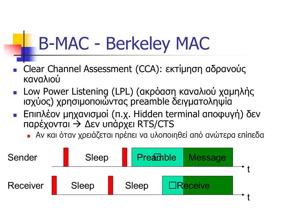 B-MAC - Berkeley MAC Clear Channel Assessment (CCA): εκτίμηση αδρανούς καναλιού Low Power Listening (LPL) (ακρόαση καναλιού χαμηλής ισχύος) χρησιμοποιώντας preamble δειγματοληψία Επιπλέον μηχανισμοί (π.χ.
