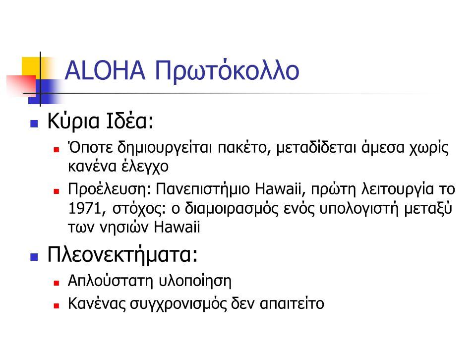 ALOHA Πρωτόκολλο Κύρια Ιδέα: Όποτε δημιουργείται πακέτο, μεταδίδεται άμεσα χωρίς κανένα έλεγχο Προέλευση: Πανεπιστήμιο Hawaii, πρώτη λειτουργία το 1971, στόχος: ο διαμοιρασμός ενός υπολογιστή μεταξύ των νησιών Hawaii Πλεονεκτήματα: Απλούστατη υλοποίηση Κανένας συγχρονισμός δεν απαιτείτο