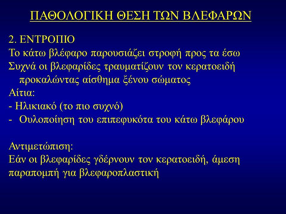 ΠΑΘΟΛΟΓΙΚΗ ΘΕΣΗ ΤΩΝ ΒΛΕΦΑΡΩΝ 2.