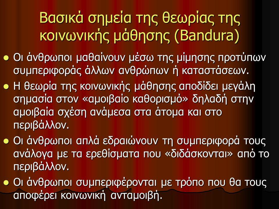 Βασικά σημεία της θεωρίας της κοινωνικής μάθησης (Bandura) Οι άνθρωποι μαθαίνουν μέσω της μίμησης προτύπων συμπεριφοράς άλλων ανθρώπων ή καταστάσεων.