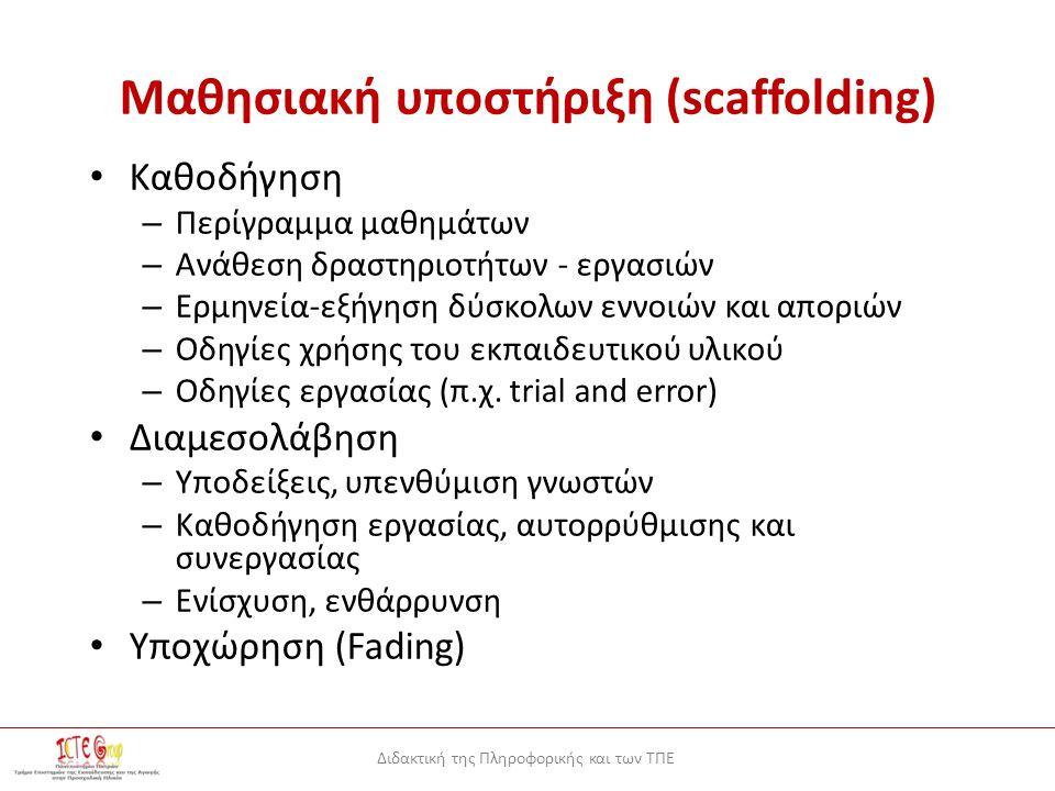 Διδακτική της Πληροφορικής και των ΤΠΕ Μαθησιακή υποστήριξη (scaffolding) Καθοδήγηση – Περίγραμμα μαθημάτων – Ανάθεση δραστηριοτήτων - εργασιών – Ερμηνεία-εξήγηση δύσκολων εννοιών και αποριών – Οδηγίες χρήσης του εκπαιδευτικού υλικού – Οδηγίες εργασίας (π.χ.