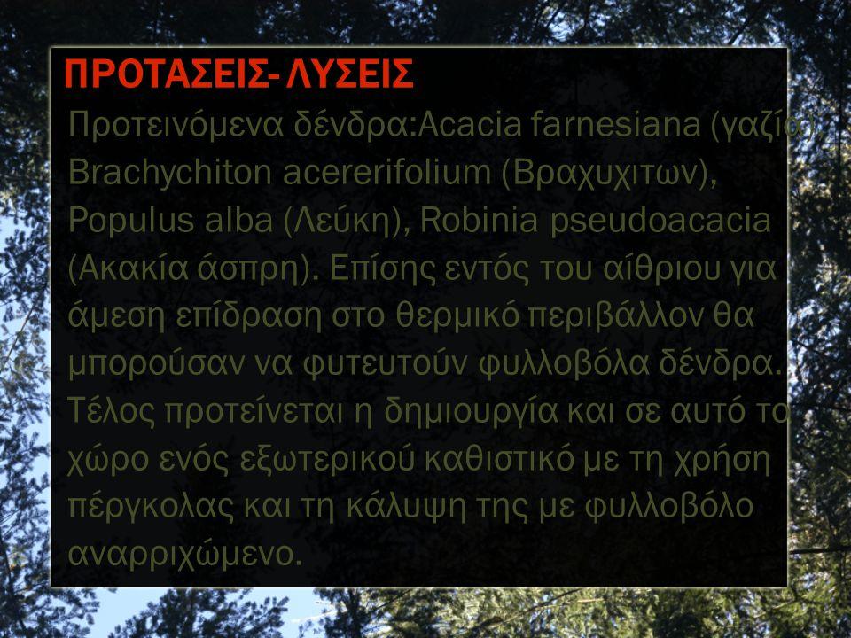 Προτεινόμενα δένδρα:Acacia farnesiana (γαζία), Brachychiton acererifolium (Βραχυχιτων), Populus alba (Λεύκη), Robinia pseudoacacia (Ακακία άσπρη).