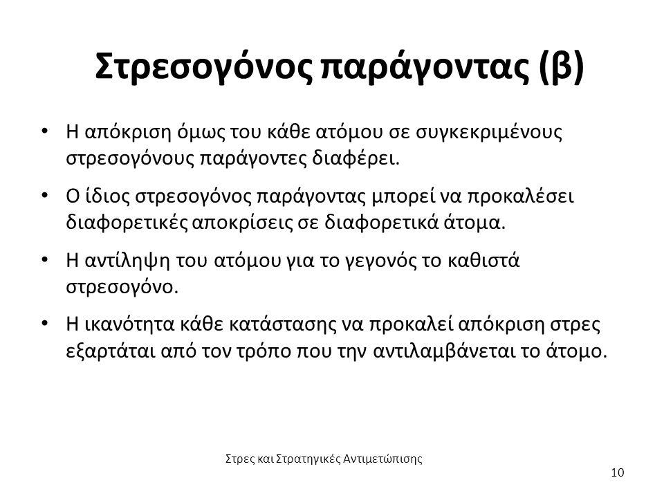 Στρεσογόνος παράγοντας (β) Η απόκριση όμως του κάθε ατόμου σε συγκεκριμένους στρεσογόνους παράγοντες διαφέρει. Ο ίδιος στρεσογόνος παράγοντας μπορεί ν