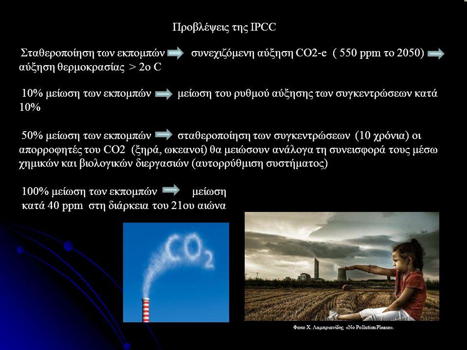  Σταθεροποίηση των εκπομπών συνεχιζόμενη αύξηση CO2-e ( 550 ppm τo 2050) αύξηση θερμοκρασίας > 2ο C  10% μείωση των εκπομπών μείωση του ρυθμού αύξησης των συγκεντρώσεων κατά 10%  50% μείωση των εκπομπών σταθεροποίηση των συγκεντρώσεων (10 χρόνια) οι απορροφητές του CO2 (ξηρά, ωκεανοί) θα μειώσουν ανάλογα τη συνεισφορά τους μέσω χημικών και βιολογικών διεργασιών (αυτορρύθμιση συστήματος)  100% μείωση των εκπομπών μείωση κατά 40 ppm στη διάρκεια του 21ου αιώνα Προβλέψεις της IPCC Φωτο Χ.