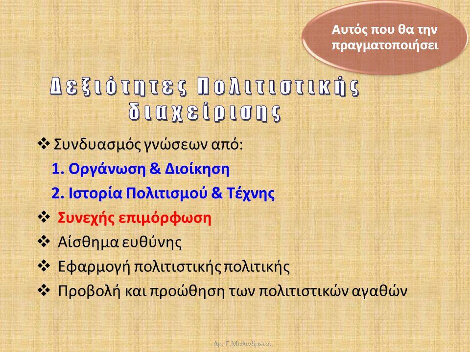 Δρ. Γ.Μαλινδρέτος  Συνδυασμός γνώσεων από: 1. Οργάνωση & Διοίκηση 2.