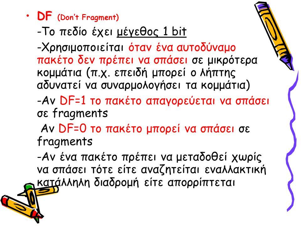 DF (Don't Fragment) -Το πεδίο έχει μέγεθος 1 bit -Χρησιμοποιείται όταν ένα αυτοδύναμο πακέτο δεν πρέπει να σπάσει σε μικρότερα κομμάτια (π.χ.