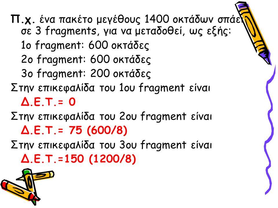 Π.χ. ένα πακέτο μεγέθους 1400 οκτάδων σπάει σε 3 fragments, για να μεταδοθεί, ως εξής: 1ο fragment: 600 οκτάδες 2ο fragment: 600 οκτάδες 3ο fragment: