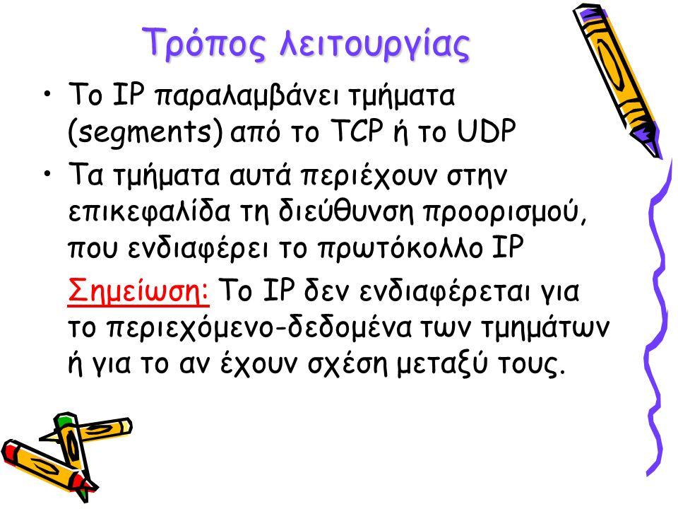 Αριθμός Πρωτοκόλλου -Έχει μέγεθος 8 bit -Δείχνει στο πρωτόκολλο ΙΡ από τη πλευρά του λήπτη σε ποιο πρωτόκολλο του πιο πάνω επιπέδου πρέπει να παραδώσει το πακέτο -Οι τιμές που μπορεί να πάρει το πεδίο είναι: 6 (για το TCP), 17 (για το UDP)