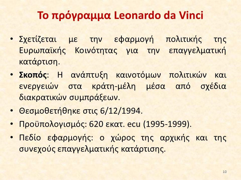 Το πρόγραμμα Leonardo da Vinci Σχετίζεται με την εφαρμογή πολιτικής της Ευρωπαϊκής Κοινότητας για την επαγγελματική κατάρτιση. Σκοπός: Η ανάπτυξη καιν