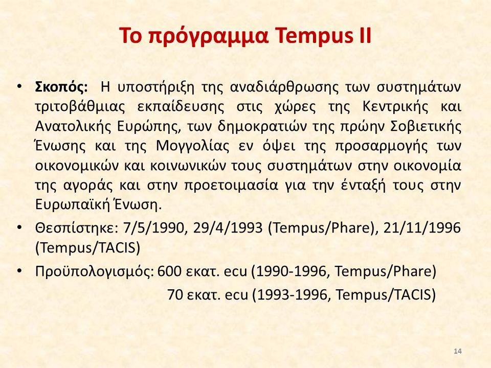 Το πρόγραμμα Tempus II Σκοπός: Η υποστήριξη της αναδιάρθρωσης των συστημάτων τριτοβάθμιας εκπαίδευσης στις χώρες της Κεντρικής και Ανατολικής Ευρώπης, των δημοκρατιών της πρώην Σοβιετικής Ένωσης και της Μογγολίας εν όψει της προσαρμογής των οικονομικών και κοινωνικών τους συστημάτων στην οικονομία της αγοράς και στην προετοιμασία για την ένταξή τους στην Ευρωπαϊκή Ένωση.