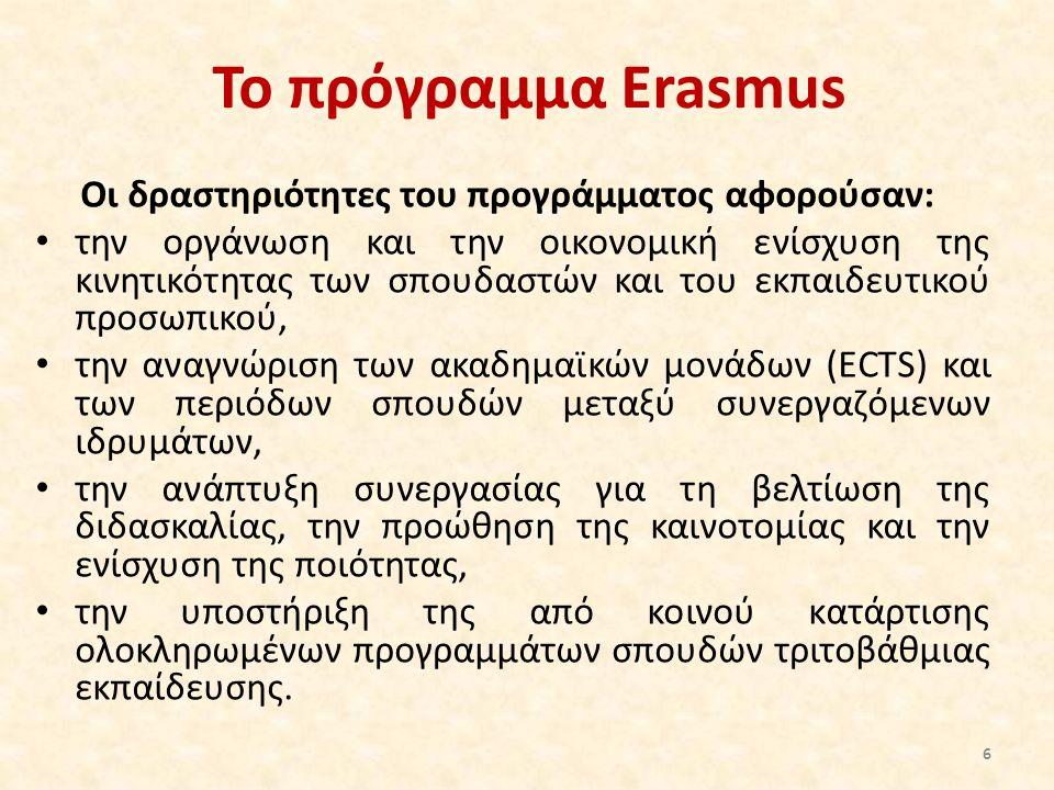 Το πρόγραμμα Erasmus Οι δραστηριότητες του προγράμματος αφορούσαν: την οργάνωση και την οικονομική ενίσχυση της κινητικότητας των σπουδαστών και του ε