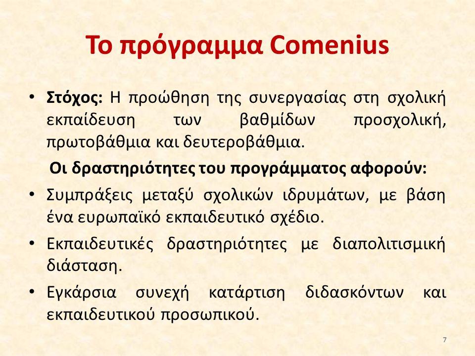 Το πρόγραμμα Comenius Στόχος: Η προώθηση της συνεργασίας στη σχολική εκπαίδευση των βαθμίδων προσχολική, πρωτοβάθμια και δευτεροβάθμια. Οι δραστηριότη