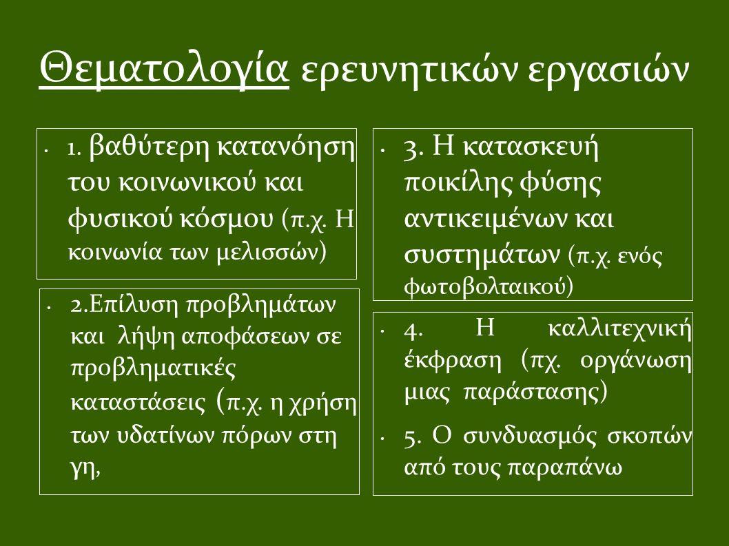 Θεματολογία ερευνητικών εργασιών 1. βαθύτερη κατανόηση του κοινωνικού και φυσικού κόσμου (π.χ. Η κοινωνία των μελισσών) 3. Η κατασκευή ποικίλης φύσης