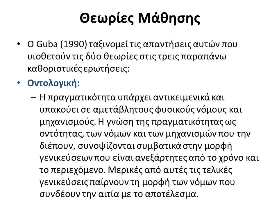 Θεωρίες Μάθησης Ο Guba (1990) ταξινομεί τις απαντήσεις αυτών που υιοθετούν τις δύο θεωρίες στις τρεις παραπάνω καθοριστικές ερωτήσεις: Οντολογική: – Η πραγματικότητα υπάρχει αντικειμενικά και υπακούει σε αμετάβλητους φυσικούς νόμους και μηχανισμούς.