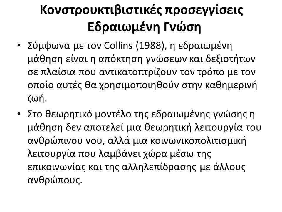 Κονστρουκτιβιστικές προσεγγίσεις Εδραιωμένη Γνώση Σύμφωνα με τον Collins (1988), η εδραιωμένη μάθηση είναι η απόκτηση γνώσεων και δεξιοτήτων σε πλαίσι