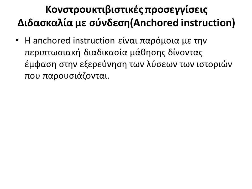 Κονστρουκτιβιστικές προσεγγίσεις Διδασκαλία με σύνδεση(Anchored instruction) Η anchored instruction είναι παρόμοια με την περιπτωσιακή διαδικασία μάθη