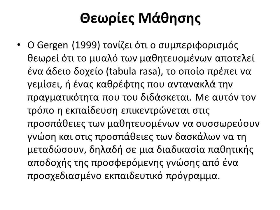 Θεωρίες Μάθησης O Gergen (1999) τονίζει ότι ο συμπεριφορισμός θεωρεί ότι το μυαλό των μαθητευομένων αποτελεί ένα άδειο δοχείο (tabula rasa), το οποίο πρέπει να γεμίσει, ή ένας καθρέφτης που αντανακλά την πραγματικότητα που του διδάσκεται.