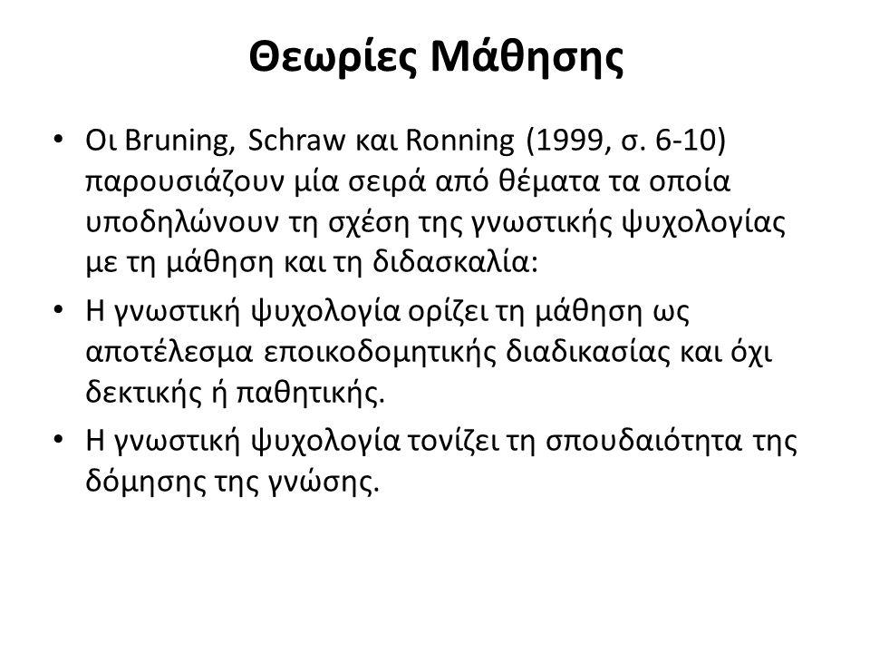 Θεωρίες Μάθησης Οι Bruning, Schraw και Ronning (1999, σ. 6-10) παρουσιάζουν μία σειρά από θέματα τα οποία υποδηλώνουν τη σχέση της γνωστικής ψυχολογία