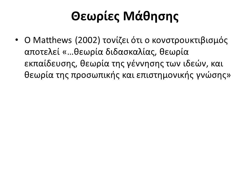 Θεωρίες Μάθησης Ο Matthews (2002) τονίζει ότι ο κονστρουκτιβισμός αποτελεί «…θεωρία διδασκαλίας, θεωρία εκπαίδευσης, θεωρία της γέννησης των ιδεών, και θεωρία της προσωπικής και επιστημονικής γνώσης»