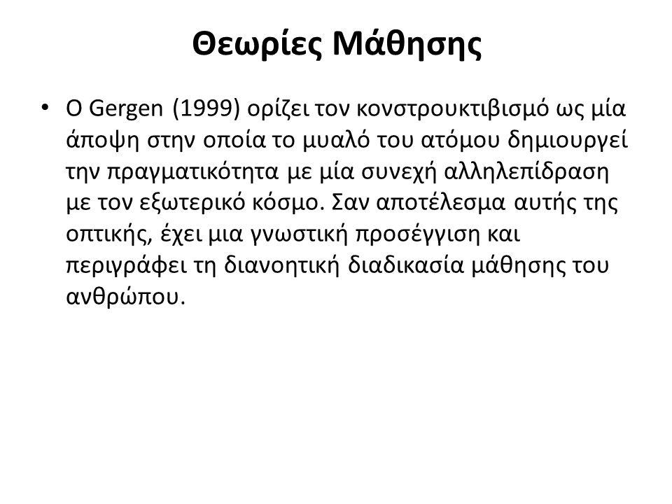 Θεωρίες Μάθησης O Gergen (1999) ορίζει τον κονστρουκτιβισμό ως μία άποψη στην οποία το μυαλό του ατόμου δημιουργεί την πραγματικότητα με μία συνεχή αλληλεπίδραση με τον εξωτερικό κόσμο.