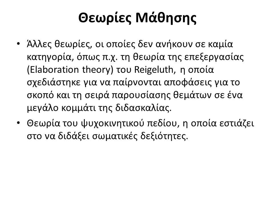 Θεωρίες Μάθησης Άλλες θεωρίες, οι οποίες δεν ανήκουν σε καμία κατηγορία, όπως π.χ. τη θεωρία της επεξεργασίας (Elaboration theory) του Reigeluth, η οπ