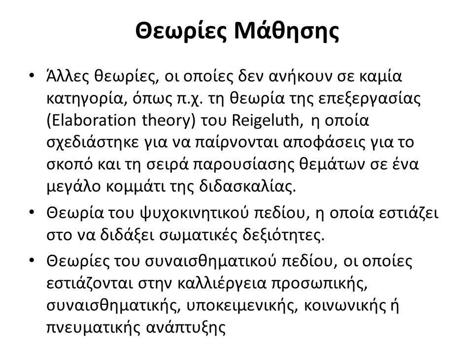 Θεωρίες Μάθησης Άλλες θεωρίες, οι οποίες δεν ανήκουν σε καμία κατηγορία, όπως π.χ.