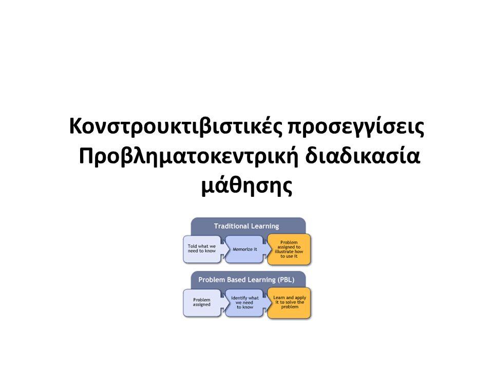 Κονστρουκτιβιστικές προσεγγίσεις Προβληματοκεντρική διαδικασία μάθησης