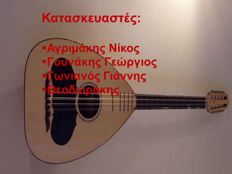 Κατασκευαστές:  Αγριμάκης Νίκος  Γουνάκης Γεώργιος  Γωνιανός Γιάννης  Θεοδωράκης