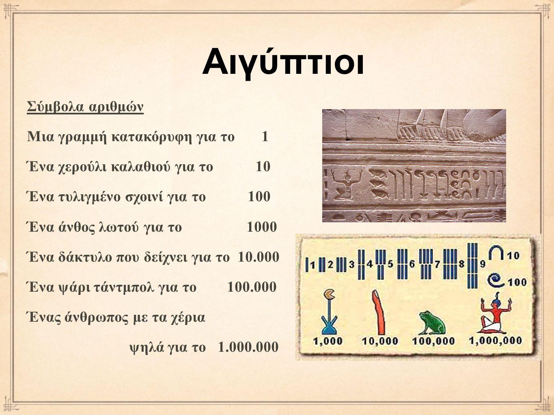 Σύμβολα αριθμών Μια γραμμή κατακόρυφη για το 1 Ένα χερούλι καλαθιού για το 10 Ένα τυλιγμένο σχοινί για το 100 Ένα άνθος λωτού για το 1000 Ένα δάκτυλο που δείχνει για το 10.000 Ένα ψάρι τάντμπολ για το 100.000 Ένας άνθρωπος με τα χέρια ψηλά για το 1.000.000 Αιγύπτιοι