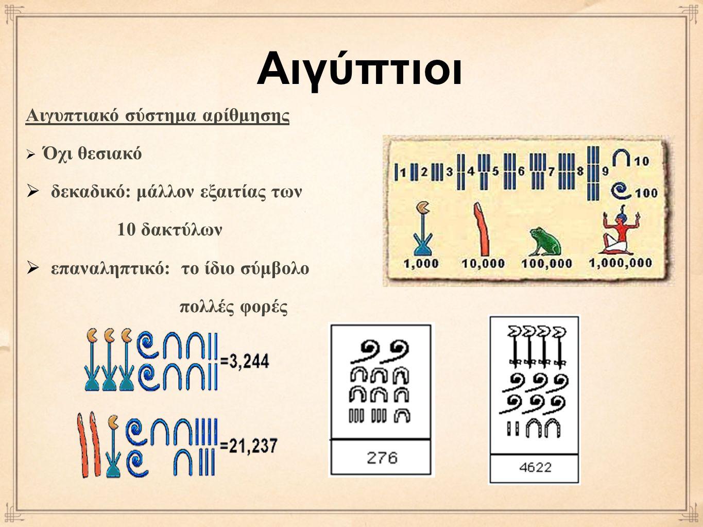 Αιγυπτιακό σύστημα αρίθμησης  Όχι θεσιακό  δεκαδικό: μάλλον εξαιτίας των 10 δακτύλων  επαναληπτικό: το ίδιο σύμβολο πολλές φορές Αιγύπτιοι